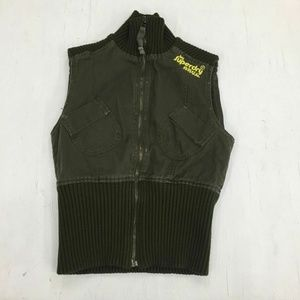 Superdry Full-Zip Army Green Fitted Jackets Vest S